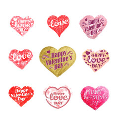 Set heart and love labels and icons vector