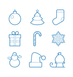 set of happy new year icons blue isolated flat vector image vector image