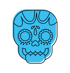 Skull the day of the death mexican traditional vector