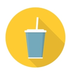 Soda with straw flat icon vector image