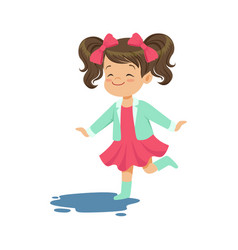 sweet little girl jumping and splashing through vector image