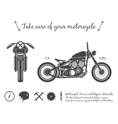 Vintage motorcycle infographic old-school bike vector image vector image
