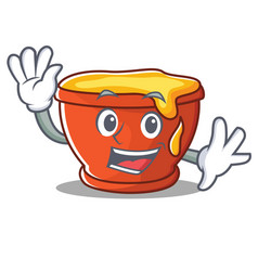 waving honey character cartoon style vector image