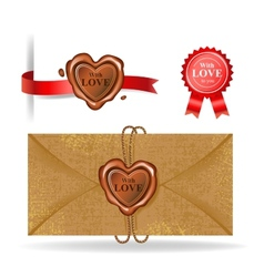 Wax seal collection in heart shape vector