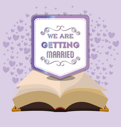 We are greeting married bible and purple hearts vector