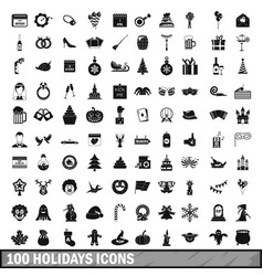 100 holidays icons set in simple style vector image vector image
