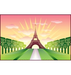 Landscape with paris eiffel tower vector