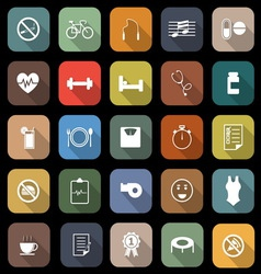 Wellness flat icons with long shadow vector