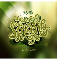 Blurred background spring hand lettering vector