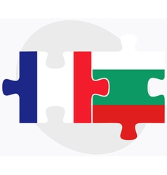 France and bulgaria flags in puzzle vector