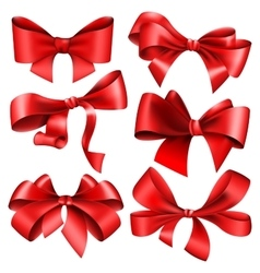 Set of 6 red bow vector