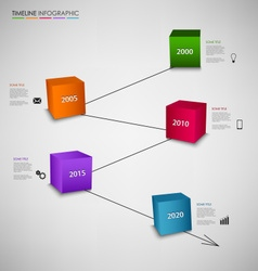 Time line info graphic with colored cubes template vector