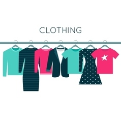 Shirts sweatshirt jacket and dresses on hangers vector