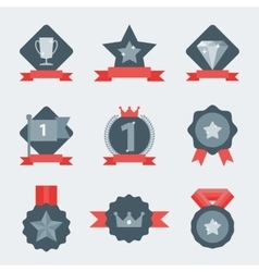 Medal and winner icon set vector