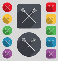Lacrosse Sticks crossed icon sign A set of 12 vector image