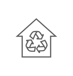 House with recycling symbol line icon vector