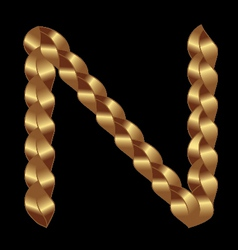 N gold string letter vector image