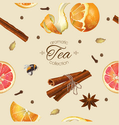 Spice tea seamless pattern vector