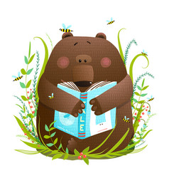 bear cub reading book cute cartoon vector image