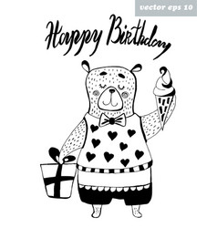 birthday bear vector image vector image