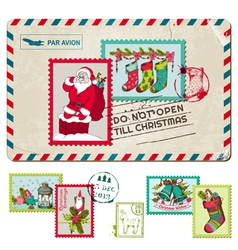 Christmas Vintage Postcard with Postage Stamps vector image