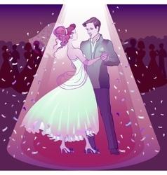 Couple dancing wedding dance in the spotlight vector
