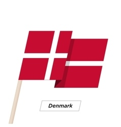 Denmark ribbon waving flag isolated on white vector