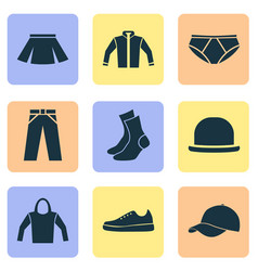 Dress icons set collection of briefs pants vector