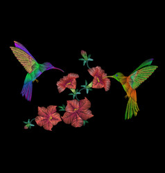 embroidery klobri birds fly over petunias flowers vector image