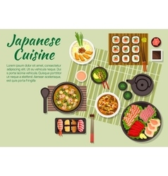 Fish dishes of japanese cuisine vector