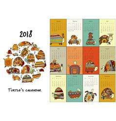 Funny turtles calendar 2018 design vector