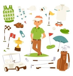 Golf player clothes and accessories vector