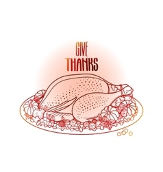 Graphic festive turkey vector image vector image