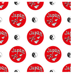 Hand drawn seamless pattern with japan culture vector