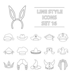 Hats set icons in outline style big collection of vector