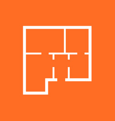 House plan simple flat icon on orange background vector