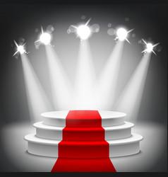 Illuminated stage podium red carpet award ceremony vector image vector image