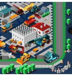 Isometric construction machines concept vector