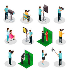 Isometric movie crew shooting collection vector