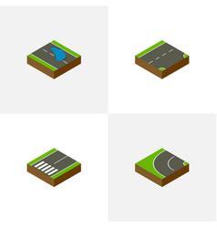 Isometric way set of footpassenger way down and vector