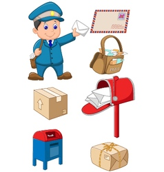 Mail carrier with bag and letter vector image vector image