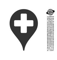 Medical map marker icon with job bonus vector