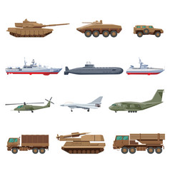 Military vehicles set vector