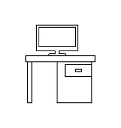 Pictogram computer desk office drawers icon vector
