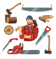 realistic of carpentry items vector image vector image