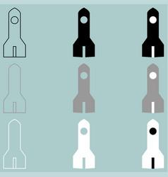 Rocket black grey white icon vector