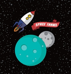 Rocket ship space travel vector