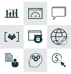 Set of 9 advertising icons includes loading speed vector