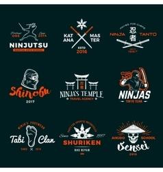 Set of japan ninja logo ninjato sword insignia vector