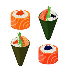 Sushi types - rolls temakiraw fish caviar rice vector